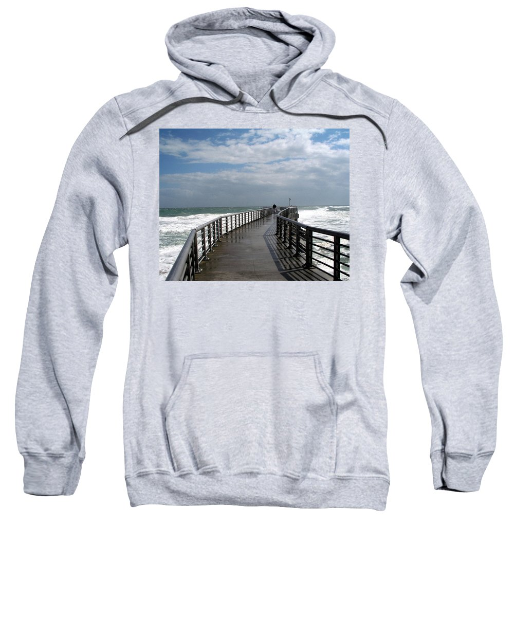 Walk; Solitary; Lonely; Sebastian; Inlet; Florida; Sea; Ocean; Water; Surf; Atlantic; Jetty; Waves; Sweatshirt featuring the photograph Sebastian Inlet On The Atlantic Coast Of Florida by Allan Hughes