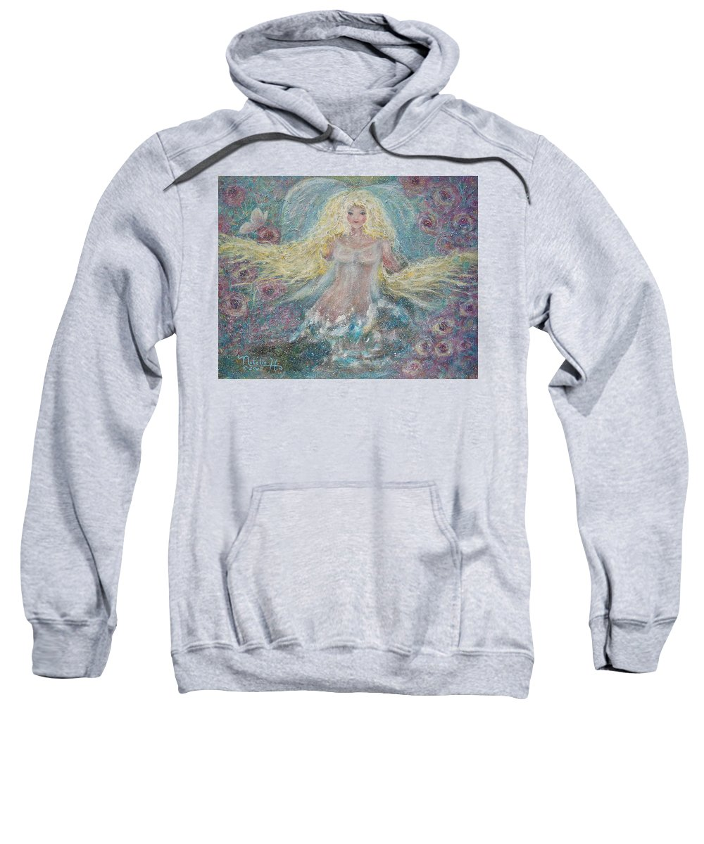 Angel Sweatshirt featuring the painting Secret Garden Angel 3 by Natalie Holland