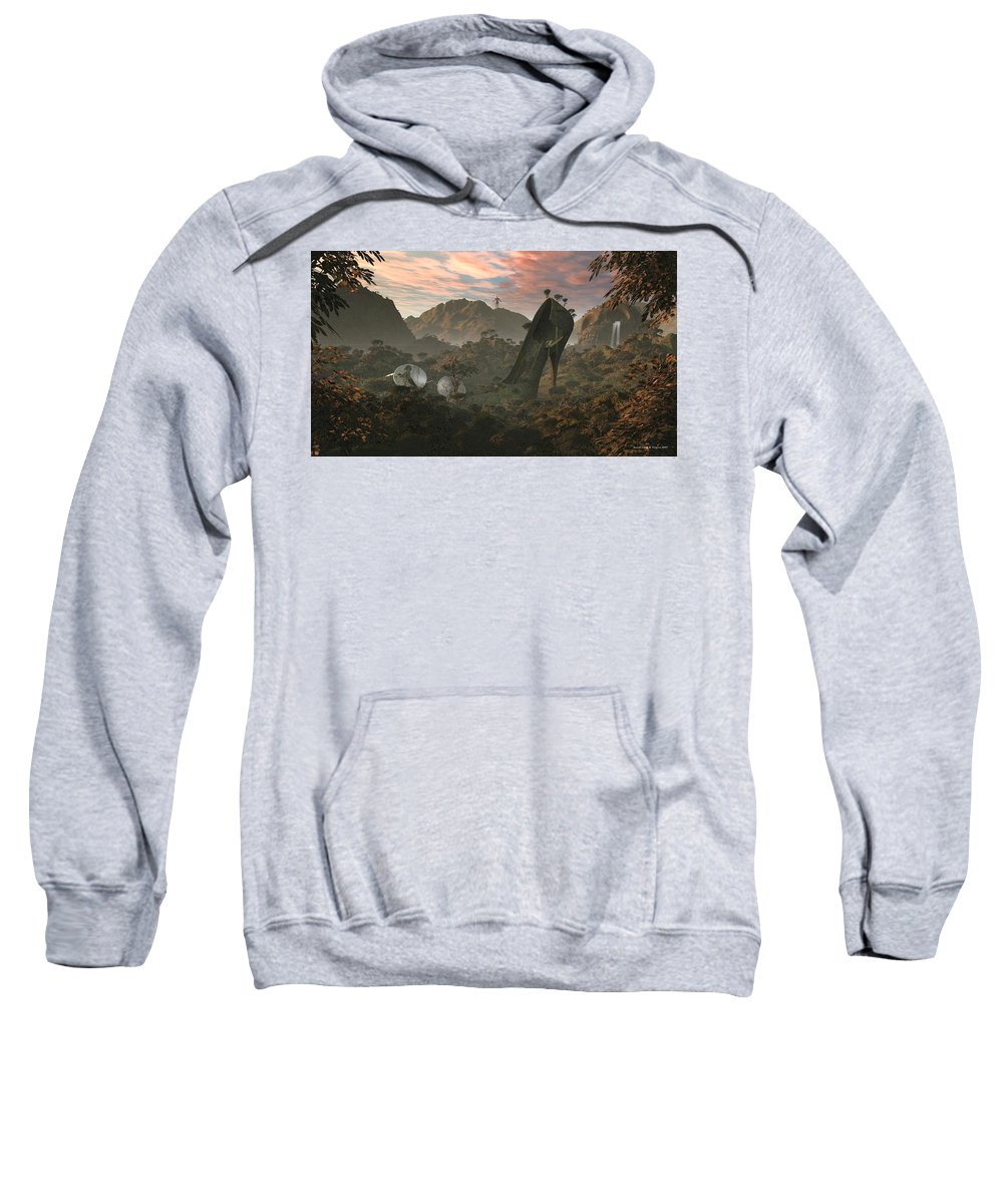 Greenpeace Sweatshirt featuring the digital art Secret Land by Nandor Volovo
