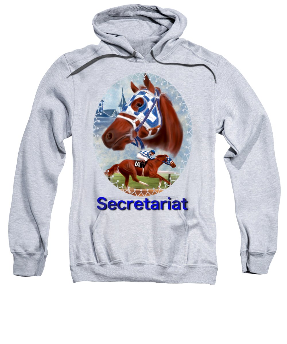 Secretariat Sweatshirt featuring the drawing Secretariat Racehorse Portrait by Becky Herrera