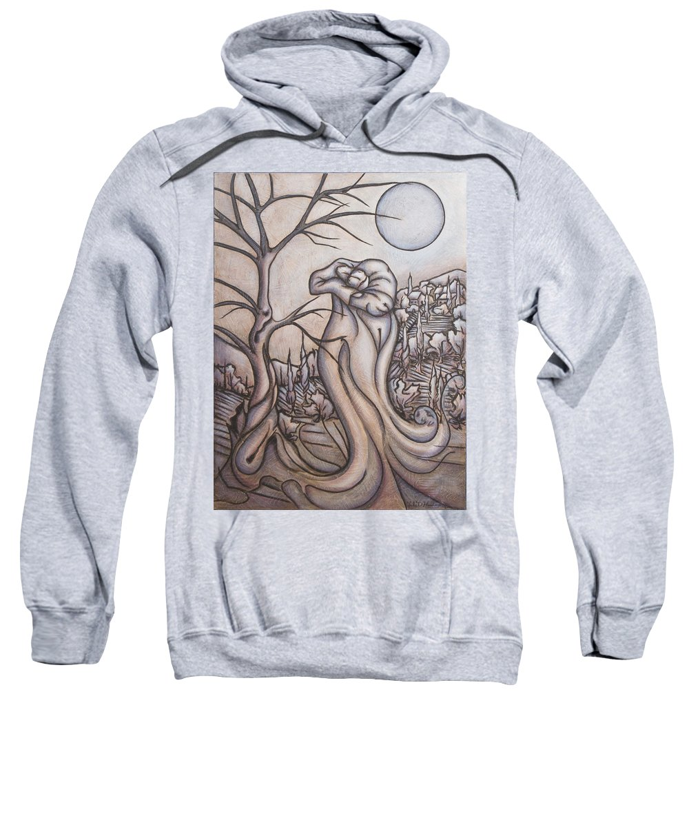 Dream. Moon Sweatshirt featuring the painting Secrets And Dreams by Judy Henninger