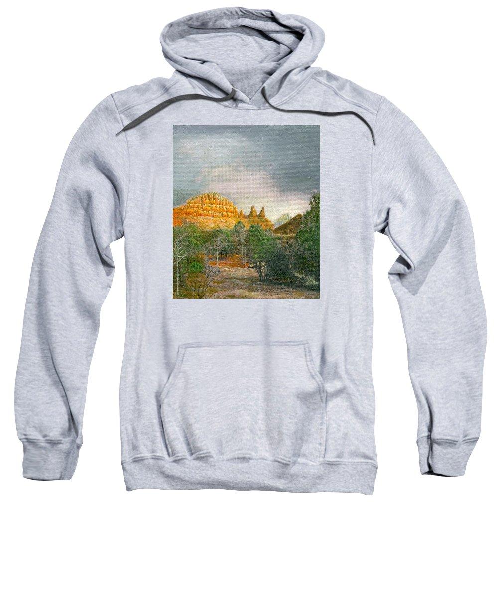 Sedona Sweatshirt featuring the painting Sedona by Sherryl Lapping