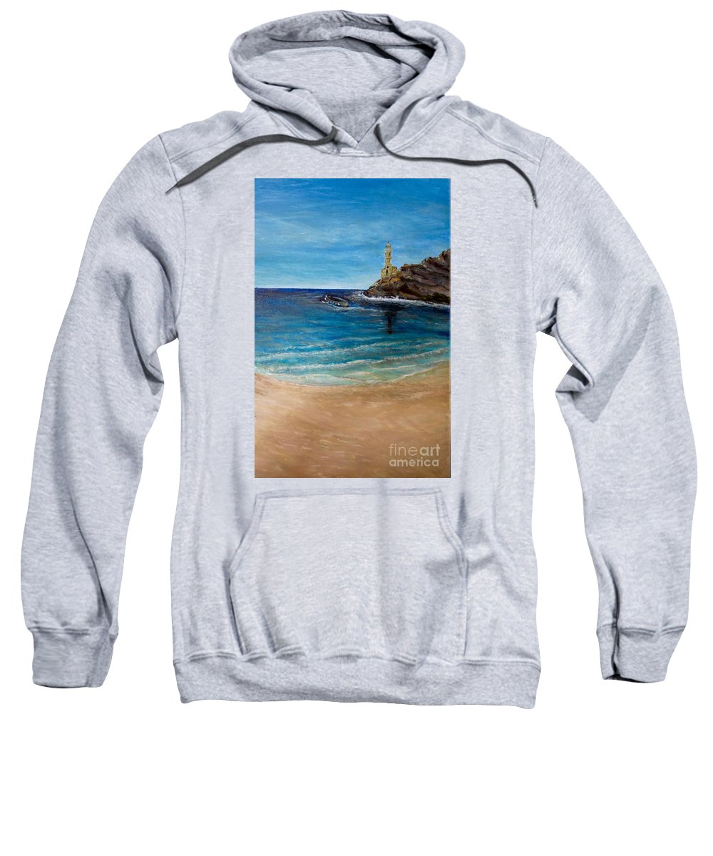 Spanish Looking Lighthouse Built On Rock Located Somewhere In The Mediterranean Small Boat Trying To Come To Shore Blue Skies Overhead With Light Wispy Clouds Turquoise And Cobalt Blue Waters Gentle Waves Lapping This Shore Golden Tan Or Khaki Sand Illuminated Ocean Or Sea Scene Painting With Spiritual Or Religious Verse From Matthew In Desciption Sweatshirt featuring the painting Seek A Source Of Light Built On A Firm Foundation To Guide You Safely To Shore by Kimberlee Baxter