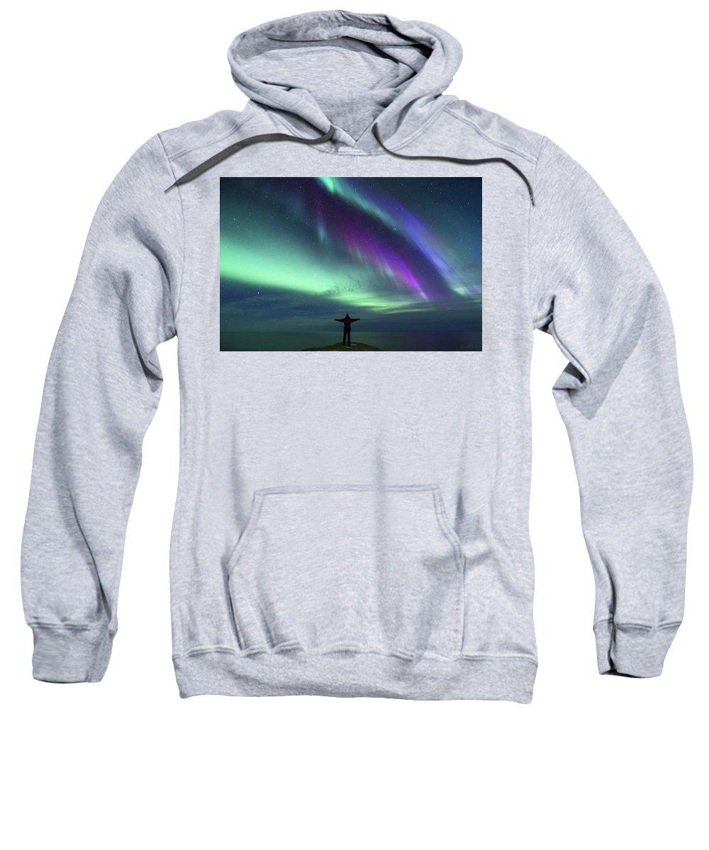 Sweatshirt featuring the photograph Self Portrait Aurora by Bjartur Vest