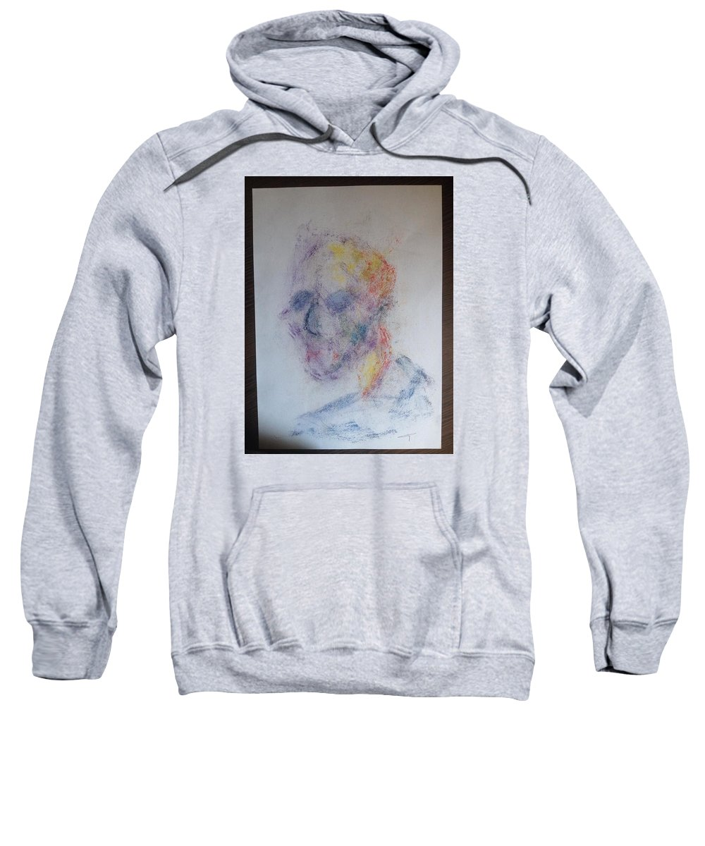 Self Portrait Sketch Messy Color Sweatshirt featuring the painting Self-portrait by Costin Tudor