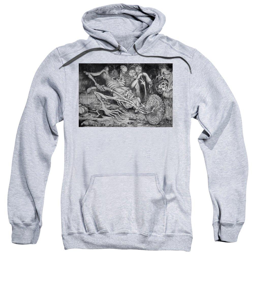 Surrealism Sweatshirt featuring the drawing Selfpropelled Beastie Seeder by Otto Rapp