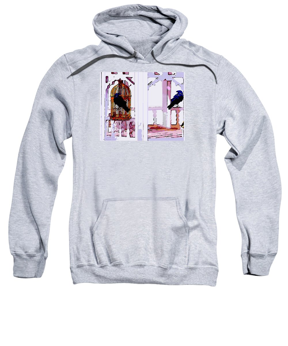 Art Sweatshirt featuring the painting Separate Lives by Larry Lamb