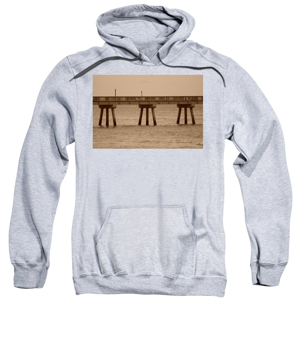 Sepia Sweatshirt featuring the photograph Sepia Pier by Rob Hans