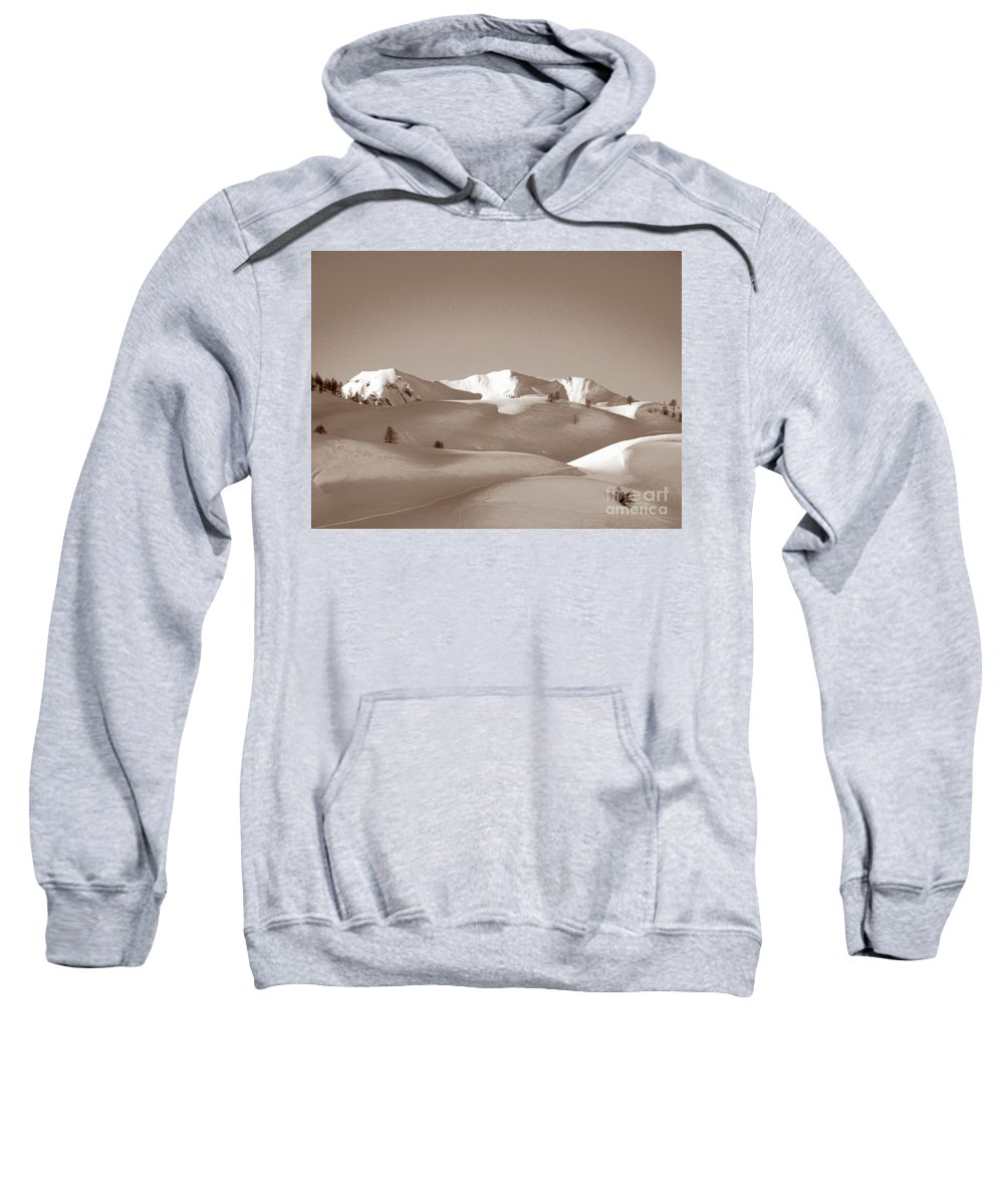 Antique Sweatshirt featuring the photograph Sepia Toned Snowy Mountain by Stefania Levi