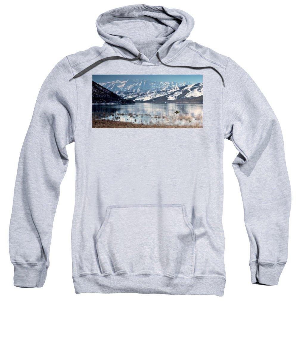 Landscape Sweatshirt featuring the photograph Serene Paddling by Scott Sawyer