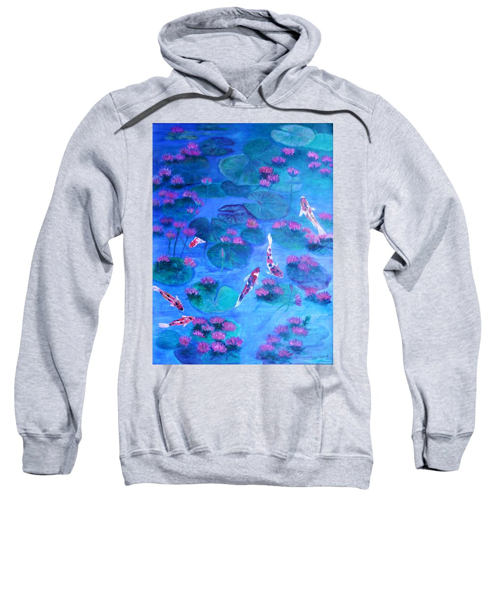 Lily Pads Sweatshirt featuring the painting Serene Pond by Ben Kiger