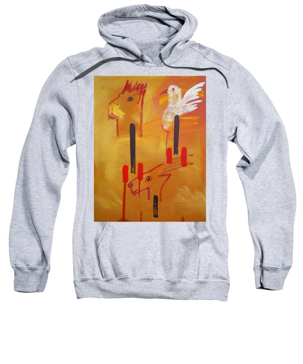 Lion Sweatshirt featuring the painting Serengeti by Charles Stuart