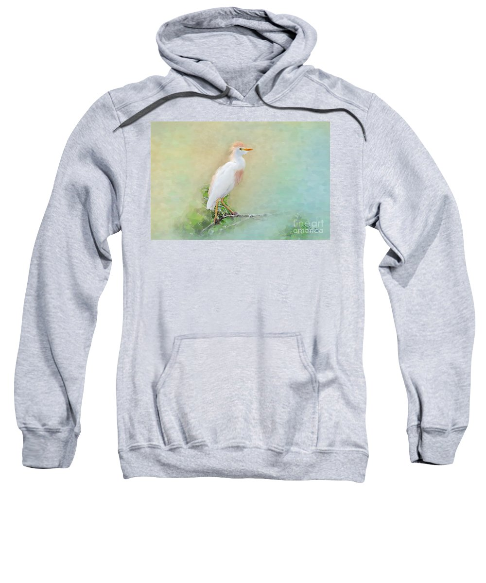 Cattle Egret Sweatshirt featuring the photograph Serenity by Betty LaRue