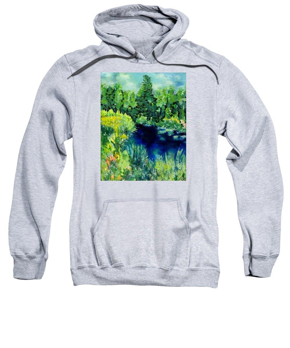 Lake Sweatshirt featuring the painting Serenity by Brigitta Richter