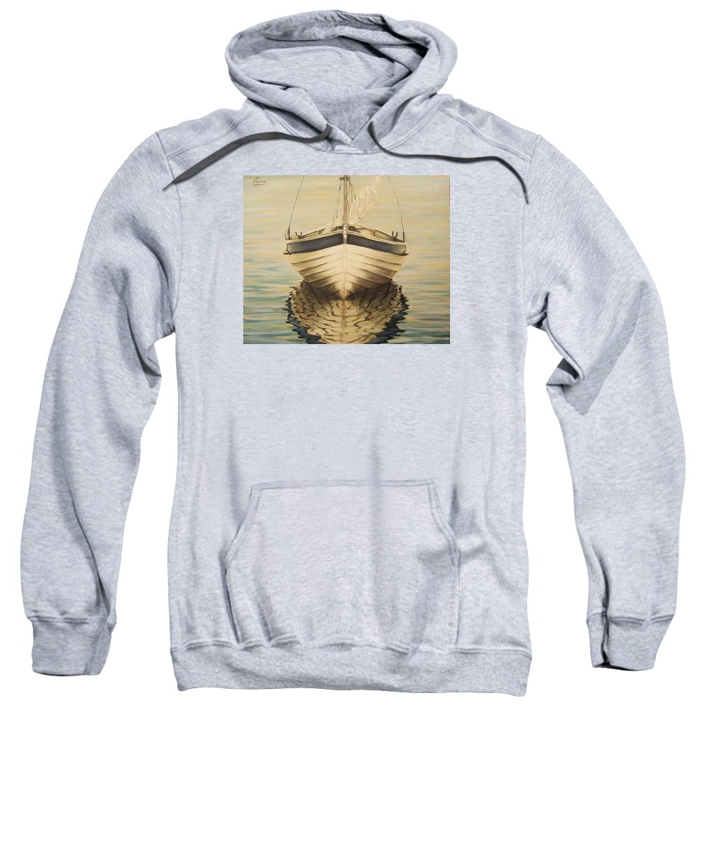 Seascape Sweatshirt featuring the painting Serenity by Natalia Tejera