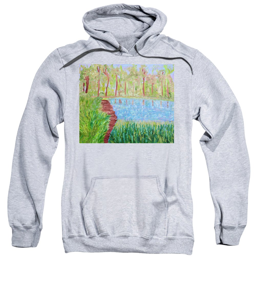 Lake Sweatshirt featuring the painting Serenity Now by Sara Credito