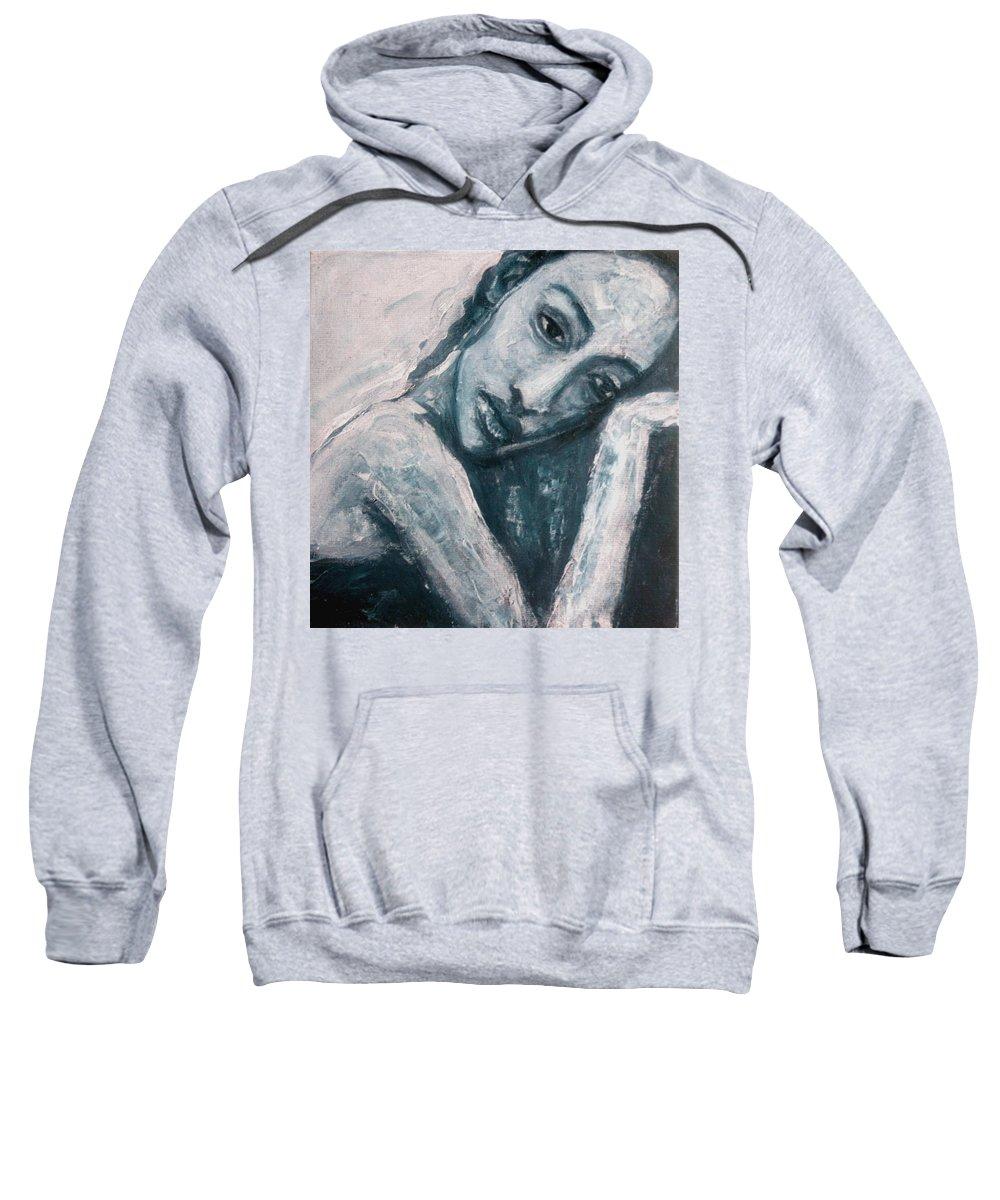 Portrait Sweatshirt featuring the painting Serenity Prayer by Jarmo Korhonen aka Jarko