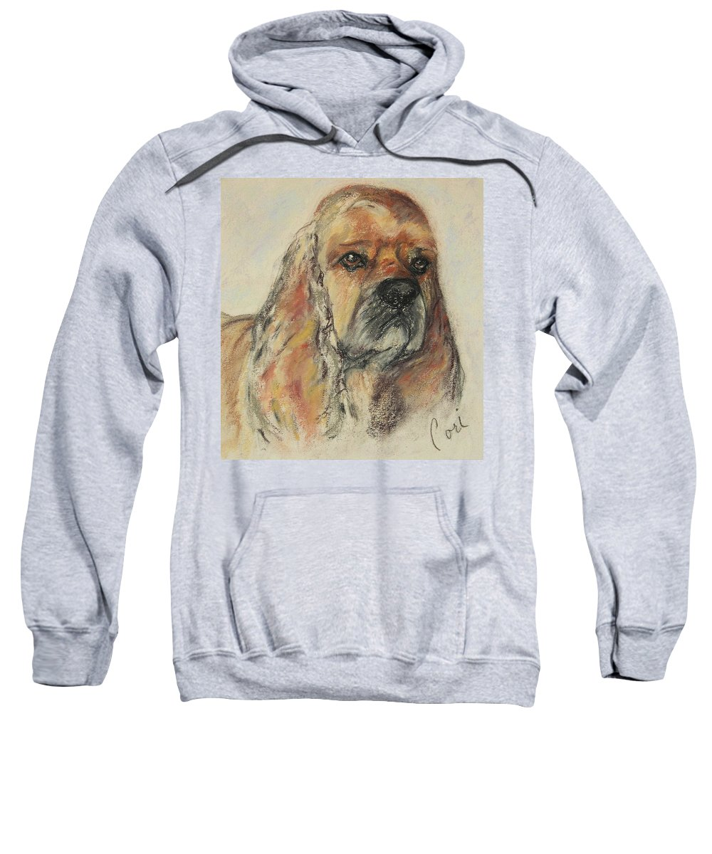 Dog Sweatshirt featuring the drawing Serious Intent by Cori Solomon