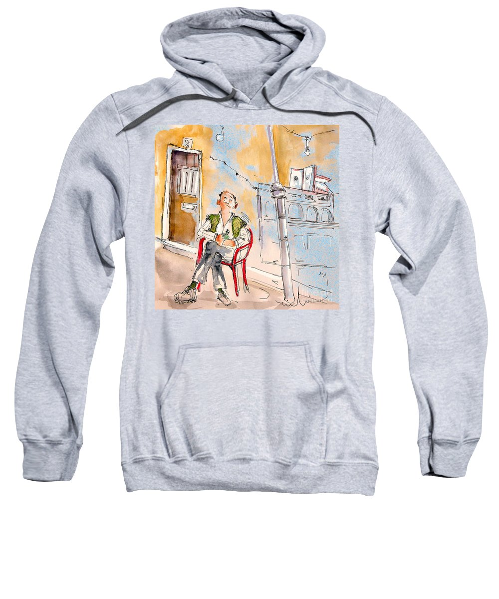 Water Colour Aquarelle Drawings Caricatures From People In Serpa Portugal By Miki Sweatshirt featuring the painting Serpa Portugal 33 by Miki De Goodaboom
