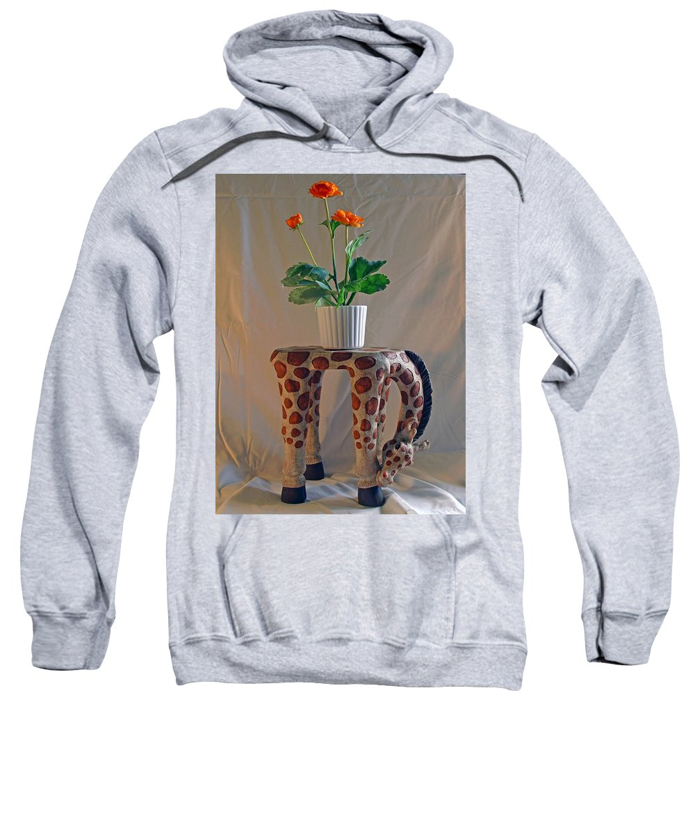 Giraffe; Burden; Flower; Pot; Orange; Artificial; Animal; Stuffed; Ceramic; Statue; Figurine; Figure Sweatshirt featuring the photograph Servant Giraffe by Allan Hughes