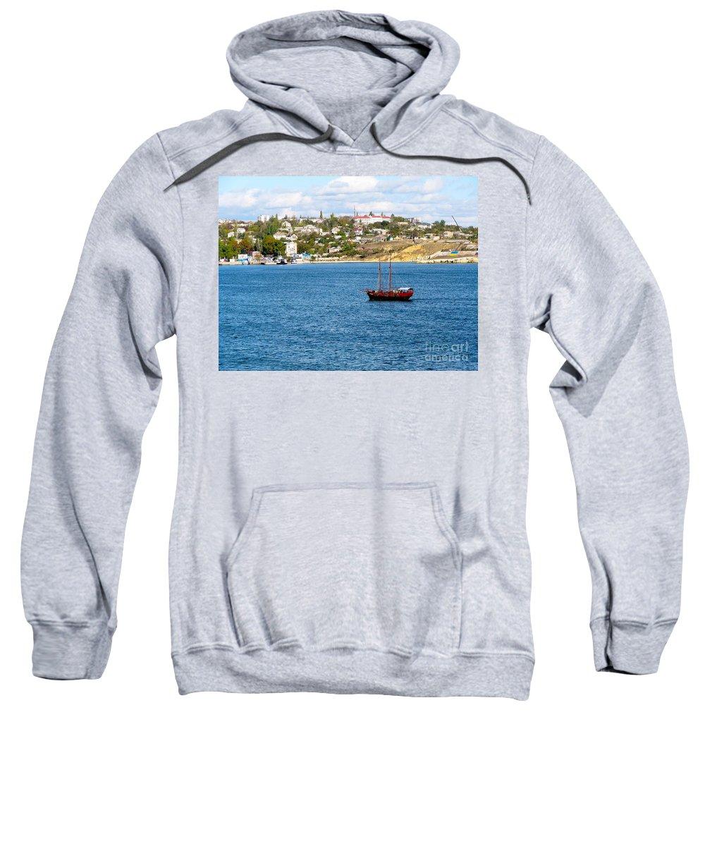 2 Masted Boat Sweatshirt featuring the photograph Sevastapol. Ukraine by Phyllis Kaltenbach