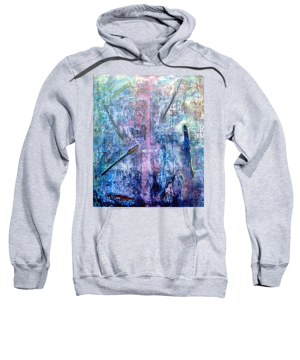 Abstract Sweatshirt featuring the painting Seven Zippers by Nancy Mueller