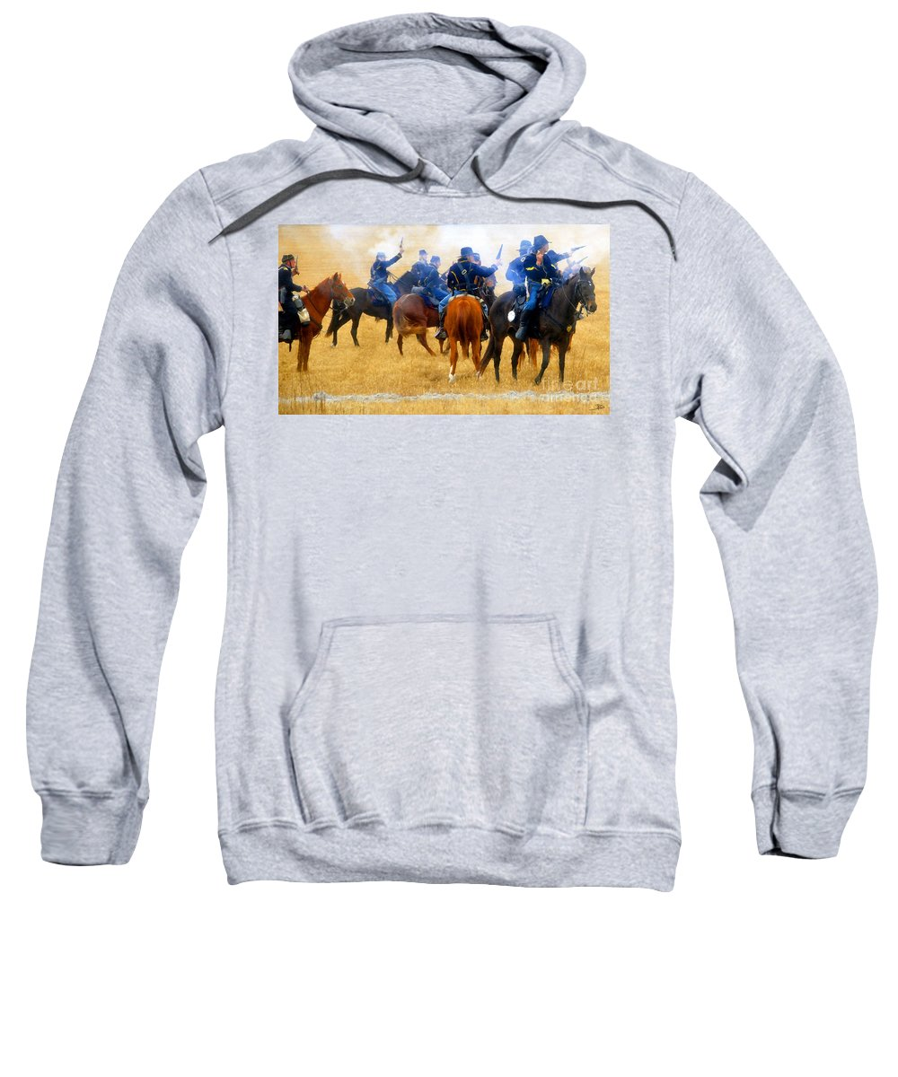 Indian Fighters Sweatshirt featuring the painting Seventh Cavalry In Action by David Lee Thompson