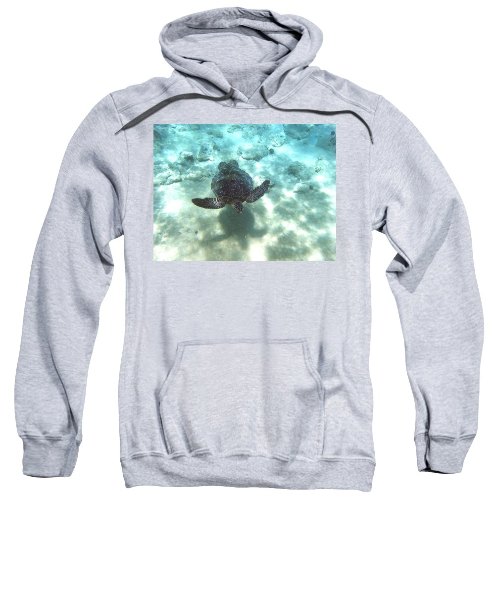 Sea Turtle Sweatshirt featuring the photograph Shadow Race by Angie Hamlin