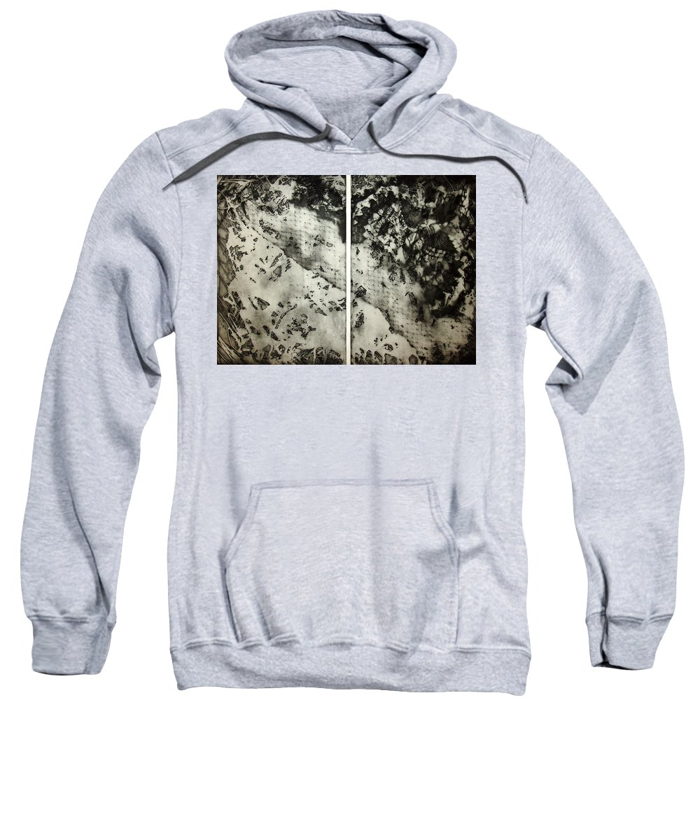 Etching Sweatshirt featuring the drawing Shadows And Lace by Nancy Mueller