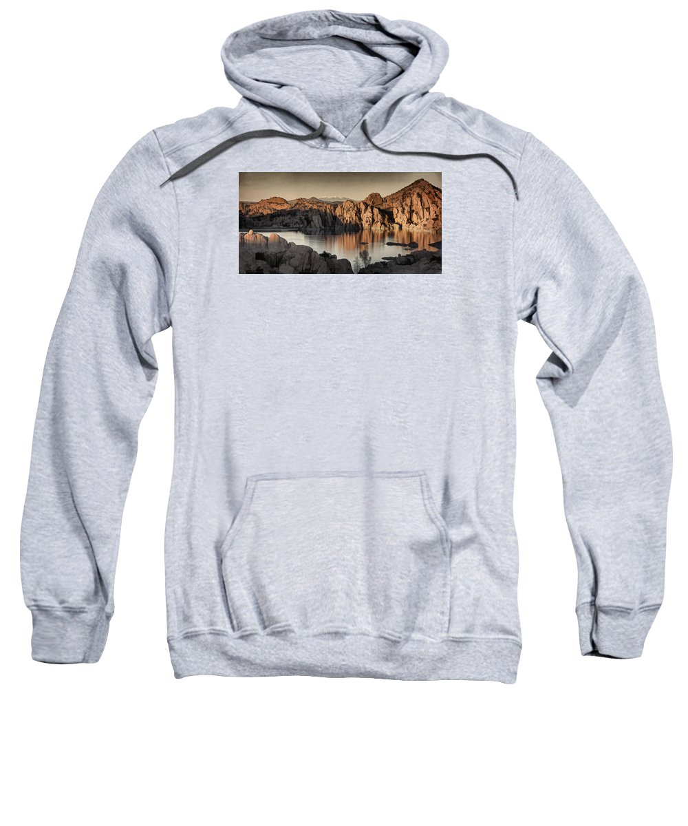 Watson Lake Sweatshirt featuring the photograph Shadows Of The Setting Sun Des by Theo O'Connor