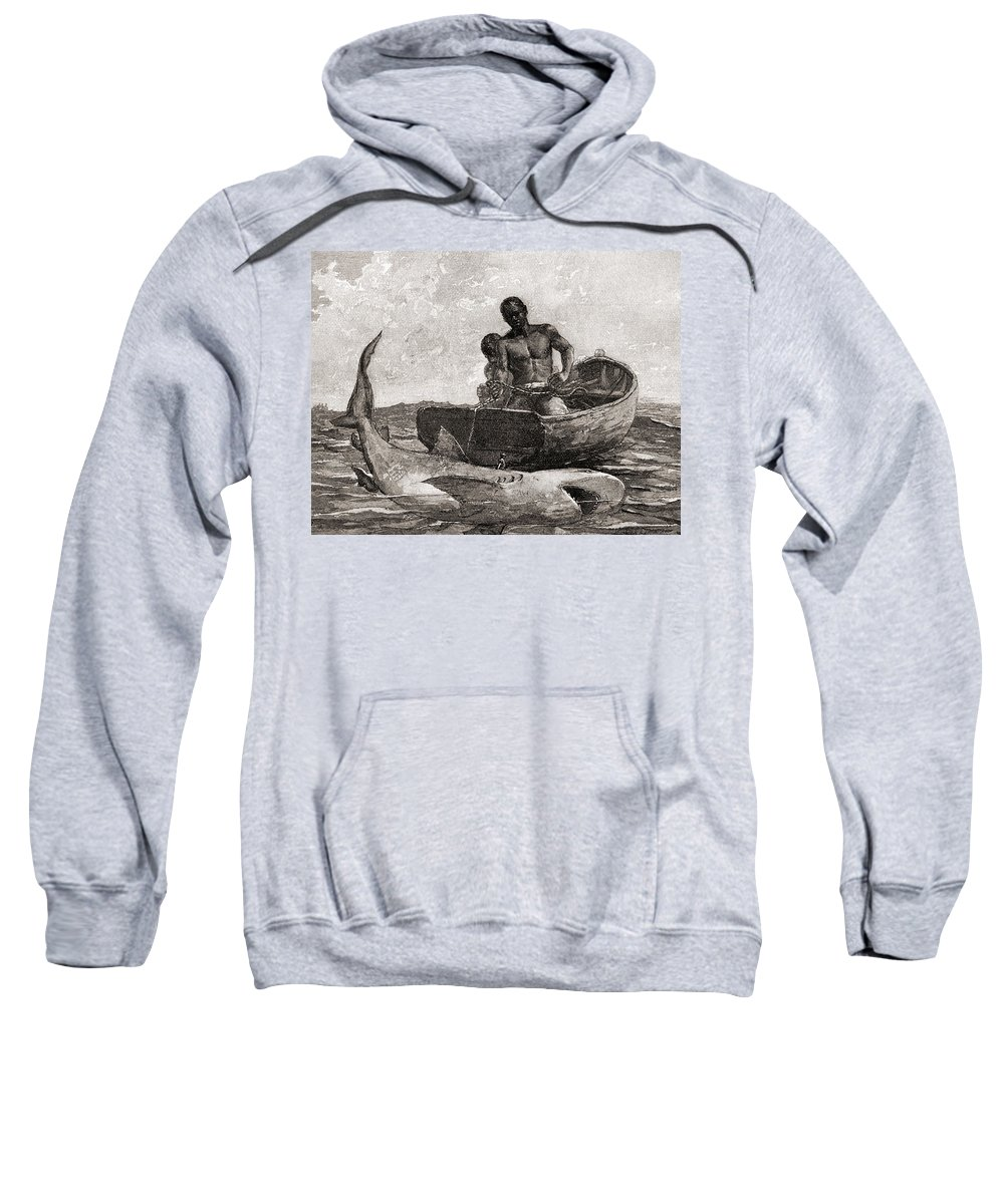 Winslow Homer Sweatshirt featuring the drawing Shark Fishing, Nassau Bar by Winslow Homer