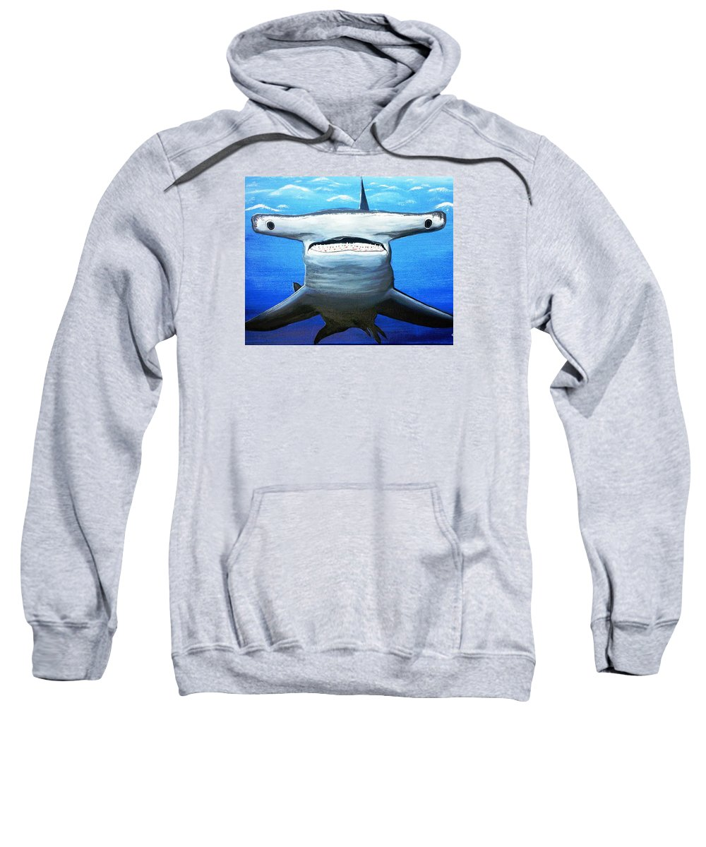 Shark Sweatshirt featuring the painting Shark by Sigita Smetonaite