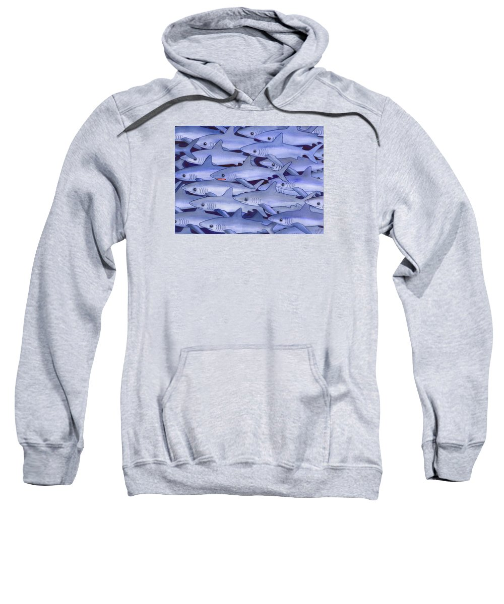 Shark Sweatshirt featuring the painting Sharks by Catherine G McElroy