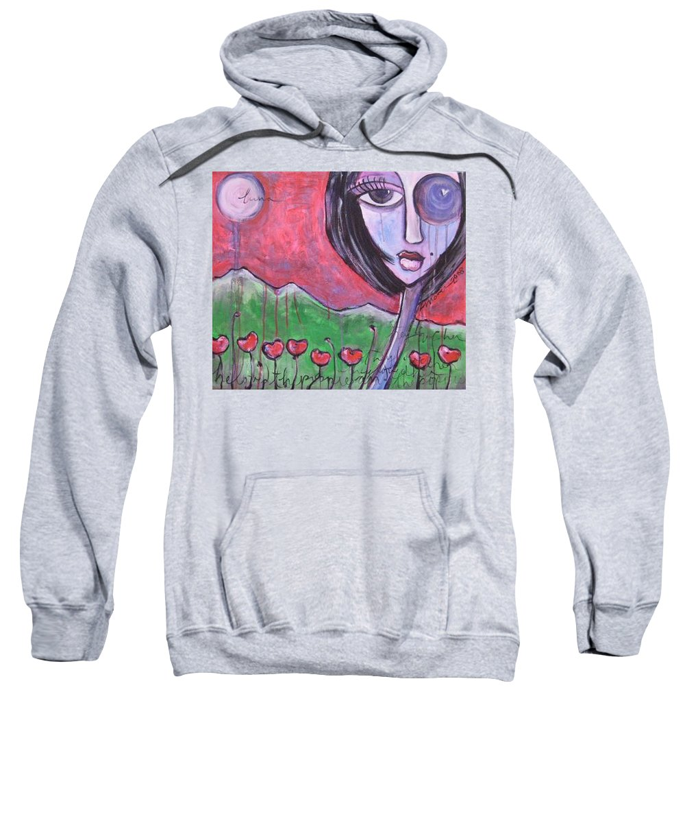 Poppies Sweatshirt featuring the painting She Loved the Poppies by Laurie Maves ART