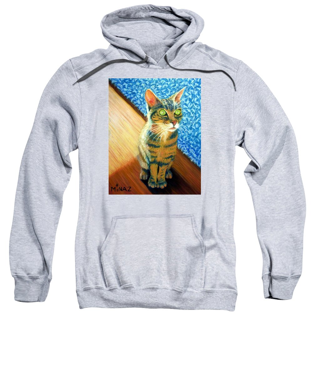 Cat Sweatshirt featuring the painting She Wants To Be Famous by Minaz Jantz