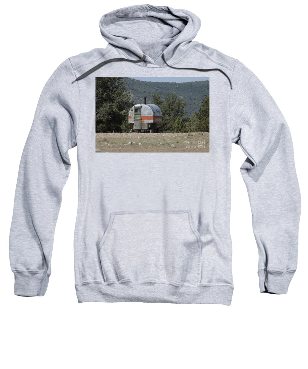 Sheep Sweatshirt featuring the photograph Sheep Herder's Wagon by Jerry McElroy