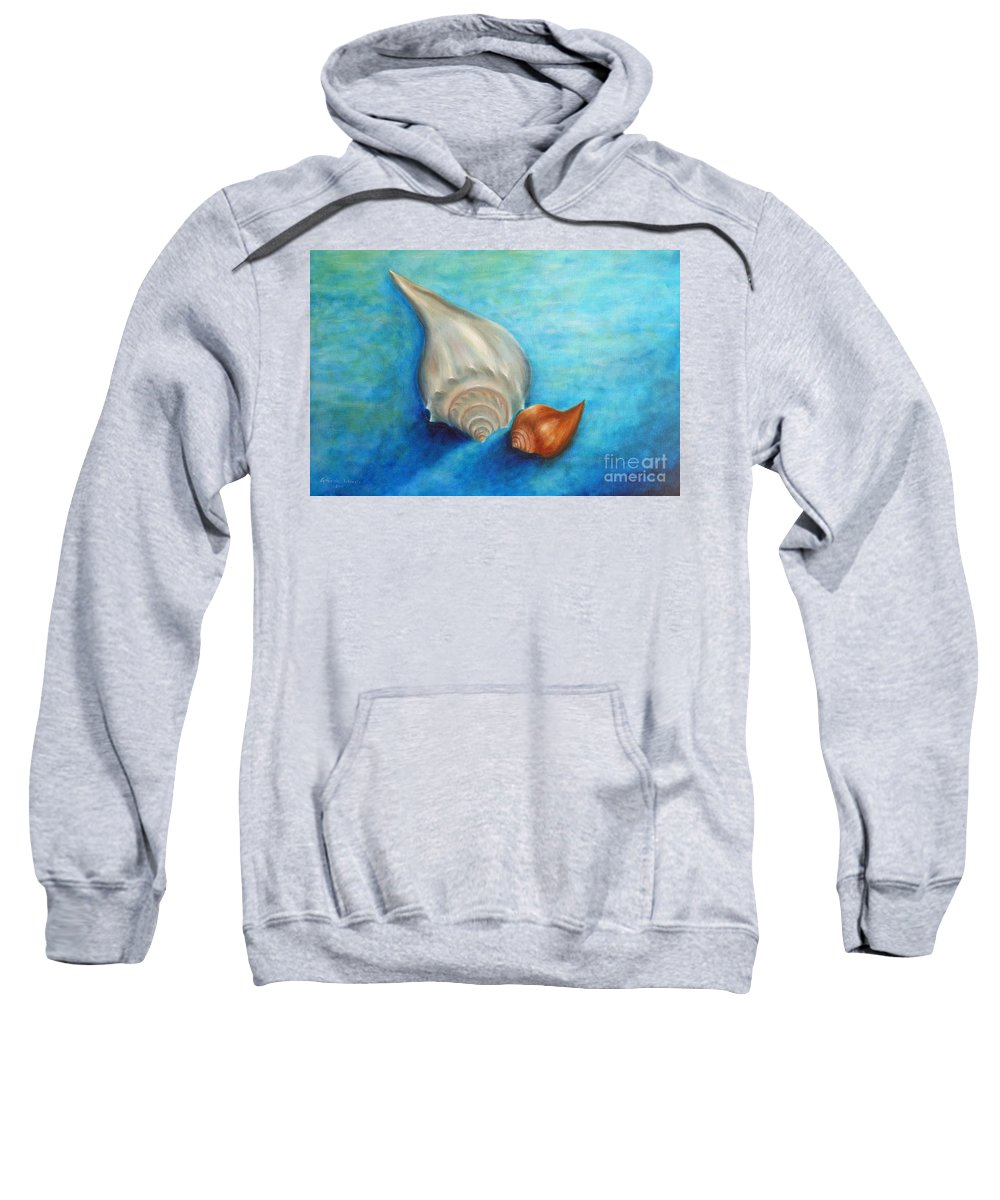 Seashells Paintings Sweatshirt featuring the painting Shells In Blue by Gabriela Valencia