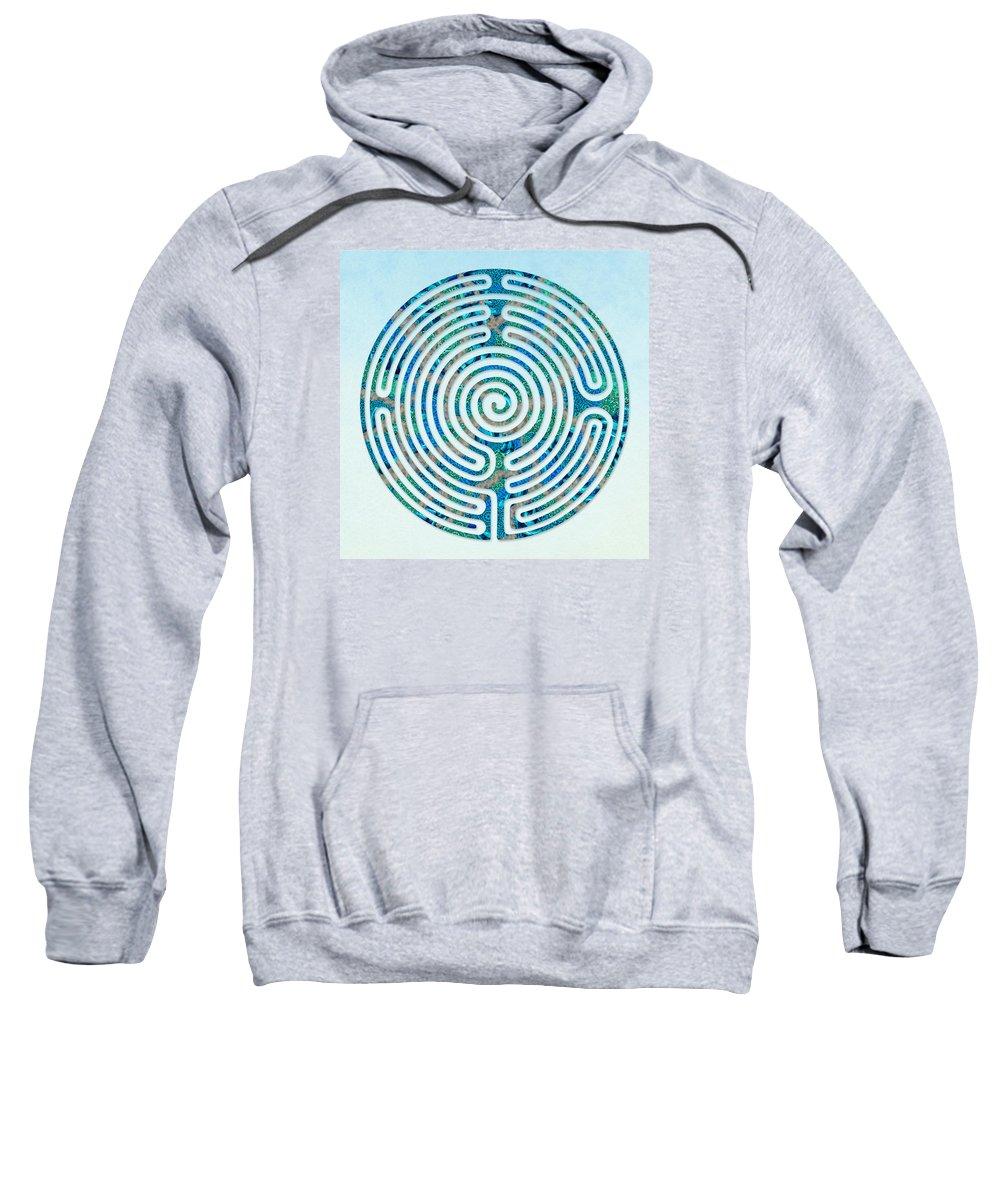 Labyrinth Art Sweatshirt featuring the digital art Shepherd's Race - Blues by Fine Art Labyrinths