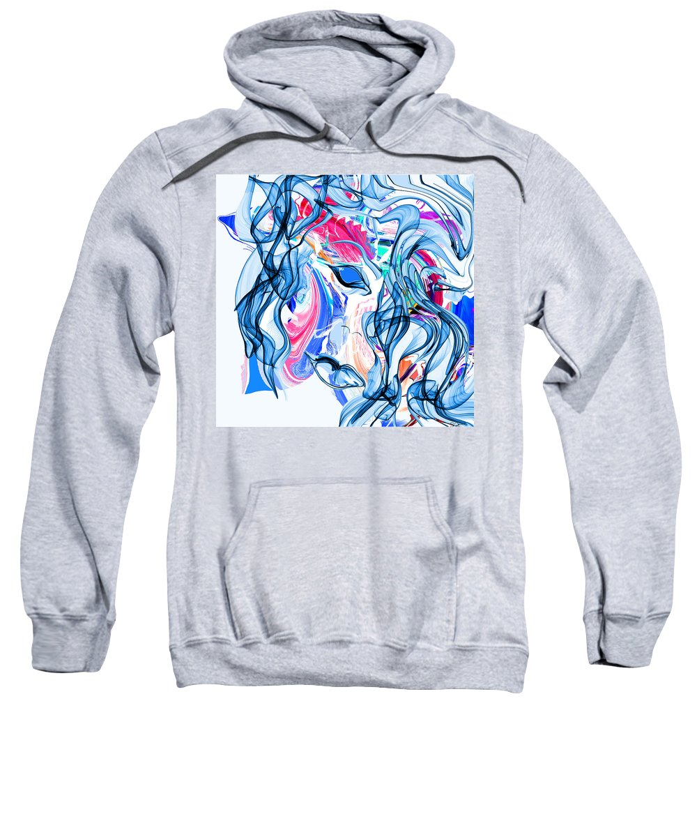 Woman Sweatshirt featuring the painting She's All Butterflies by Abstract Angel Artist Stephen K