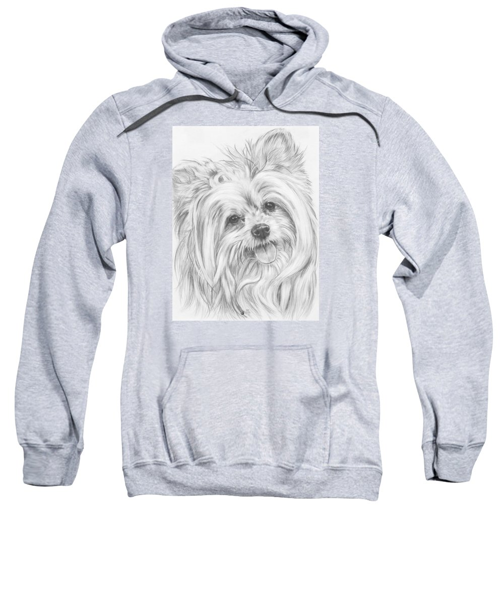 Designer Dog Sweatshirt featuring the drawing Shi-chi by Barbara Keith