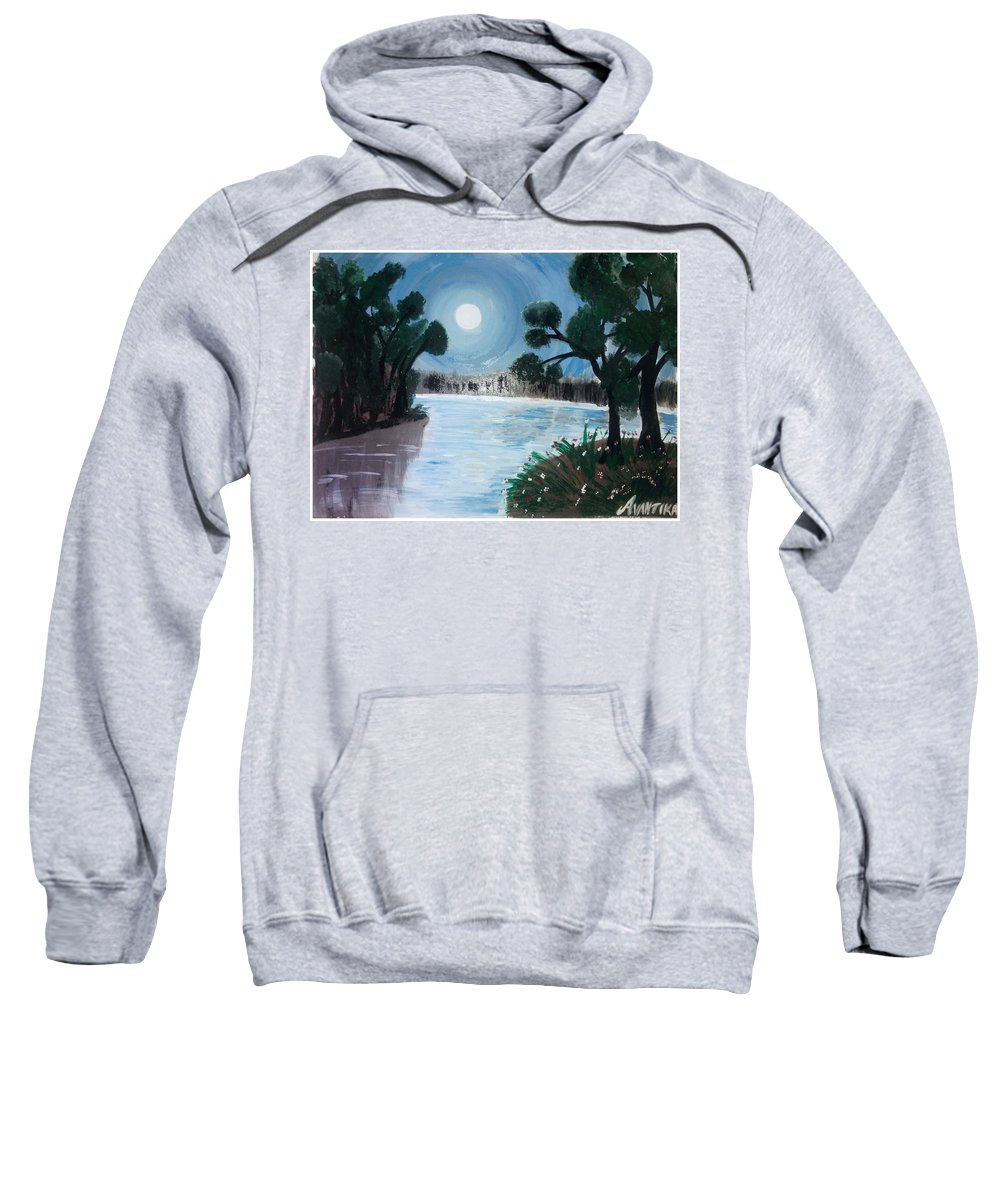 Landscape Sweatshirt featuring the painting Shining Water by Avantika Dixit