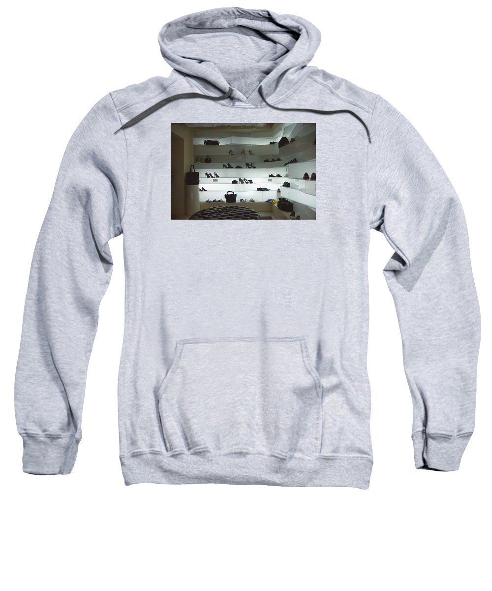 Venice Sweatshirt featuring the photograph Shoe Store After Hours - Venice, Italy by Dan Nourie
