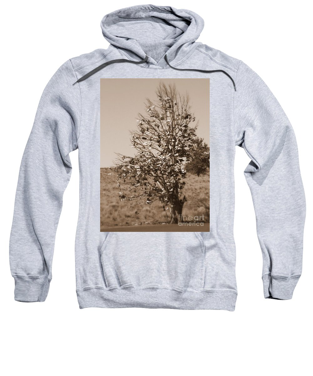 Sepia Sweatshirt featuring the photograph Shoe Tree In Sepia by Carol Groenen