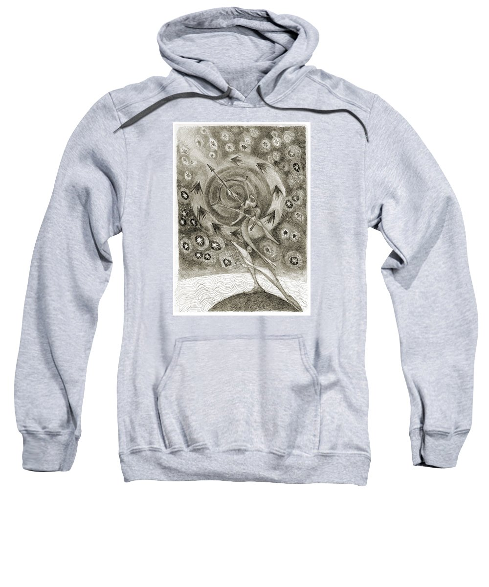 Archer Sweatshirt featuring the drawing Shooting Stars by Juel Grant