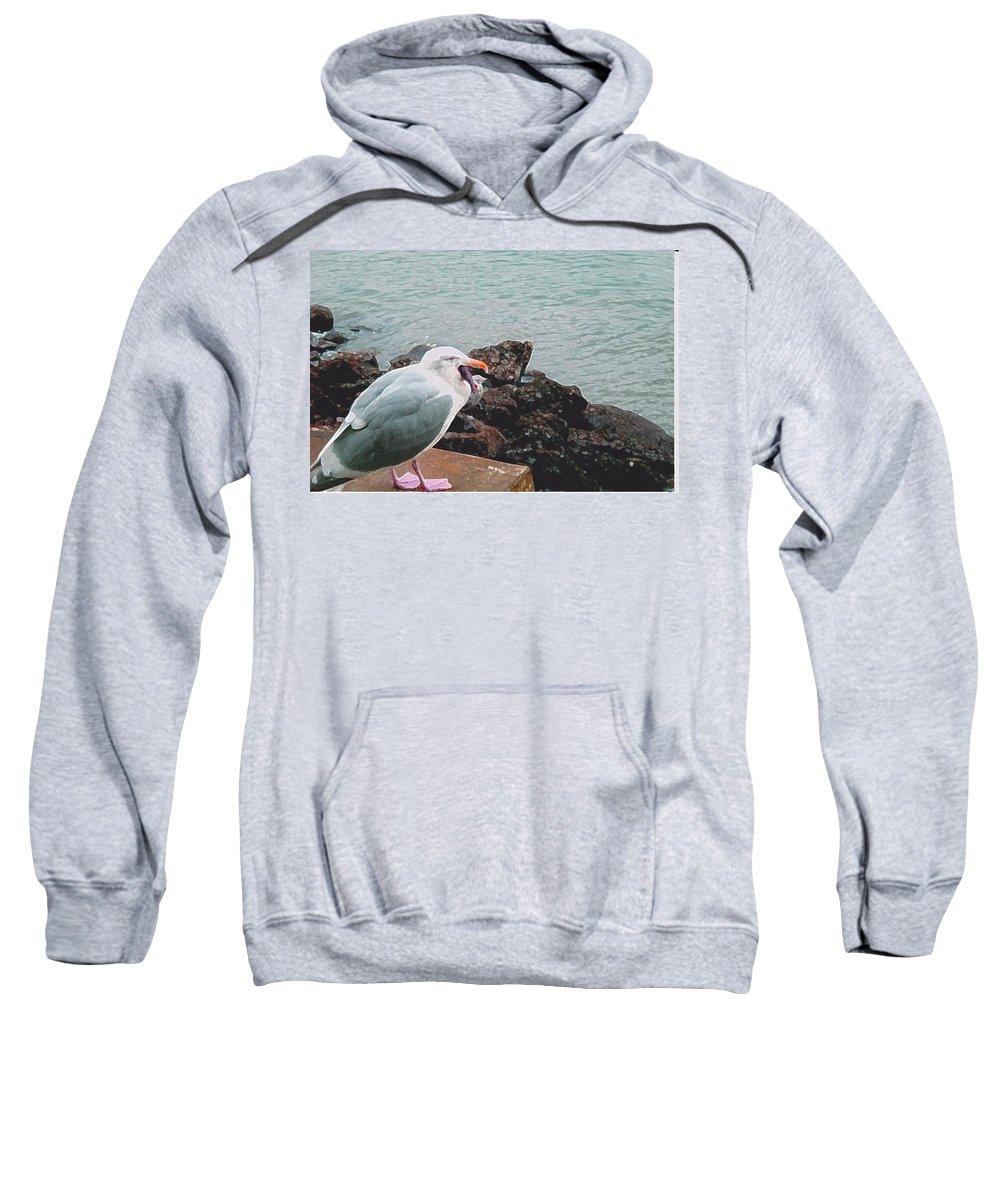 Abstract Sweatshirt featuring the digital art Shorebird With Purple Starfish by Lenore Senior