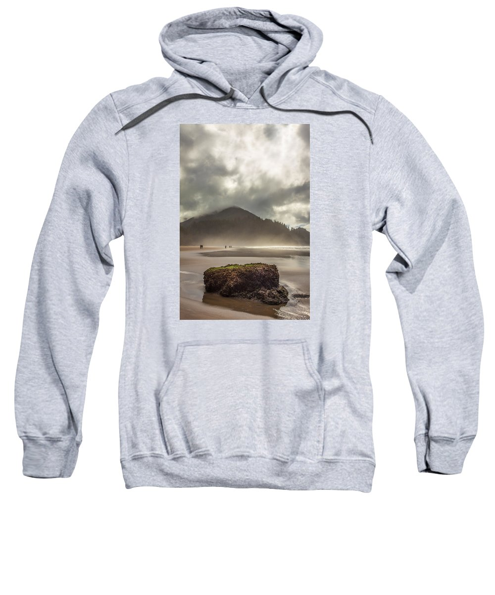 Oregon Sweatshirt featuring the photograph Short Sands Misty Day by Diana Powell