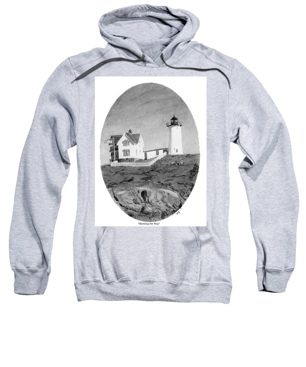 Lighthouse Sweatshirt featuring the drawing Showing The Way by Barry Jones