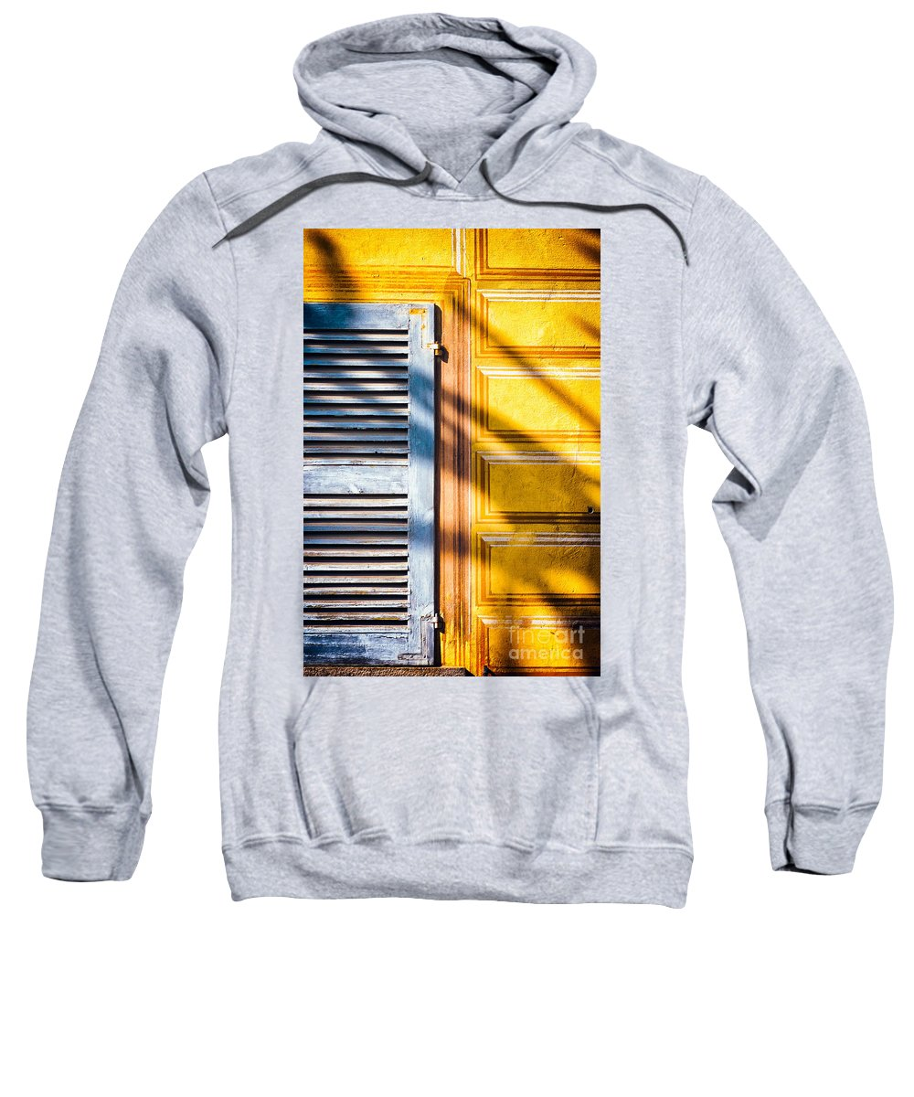 Abstract Sweatshirt featuring the photograph Shutter And Ornate Wall by Silvia Ganora