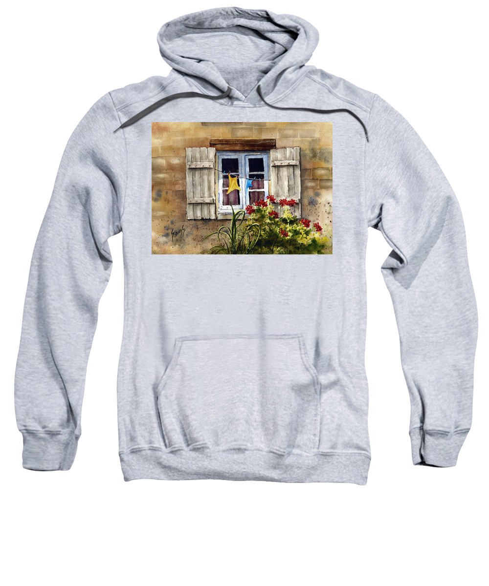 Window Sweatshirt featuring the painting Shutters by Sam Sidders