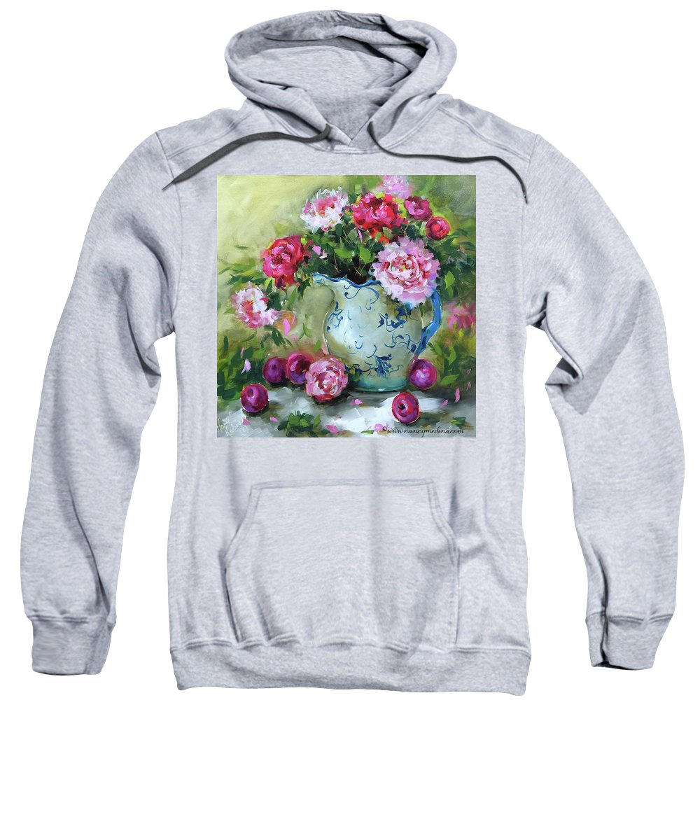 Flowers Sweatshirt featuring the painting Shy Plums And Pink Peonies by Nancy Medina